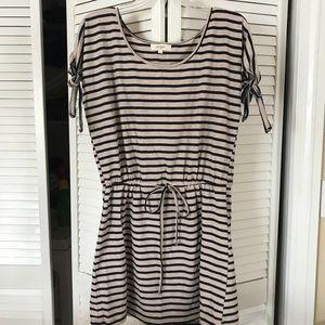 Umgee Stripe Dress with Drawstring Waist.